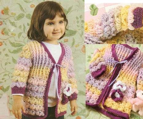 Кофточка для девочки 2 лет , связанная крючком фантазийным узором и резинкой из рельефных столбиков.  Схема вязания.