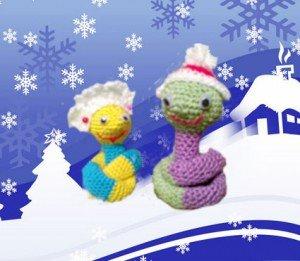 Праздник 2013 Нового Года будем встречать со змеями, то есть с симпатичными и милыми змеями, связанные крючком.