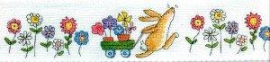Заяц и цветы на салфетке