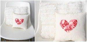 Сшитая подушка с вставкой