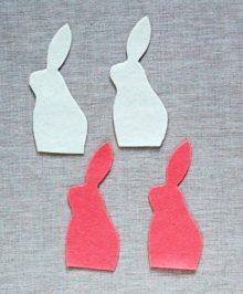 Сделать шаблон из  бумаги и выкроить по две детали белого и розового цвета