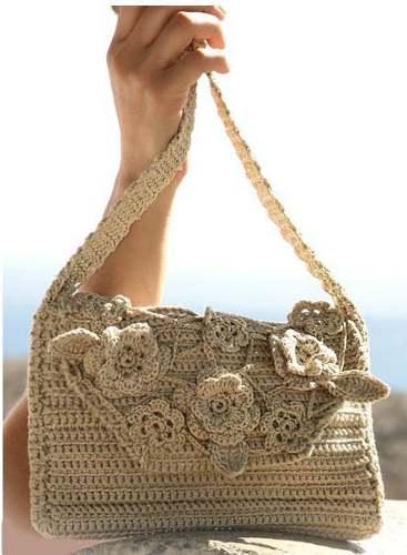 Как связать сумку с цветочными мотивами
