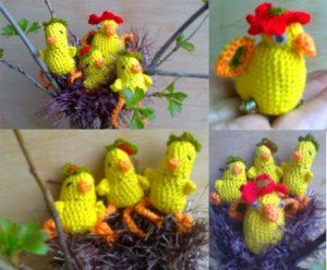 Как связать крючком курицу и цыплят