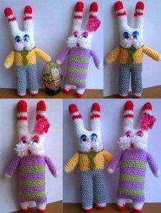 Вязаные крючком кролики