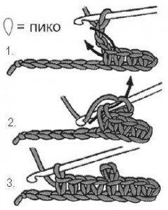 Как связать крючком пико