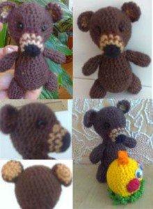 Как связать крючком пальчиковую игрушку Медведя