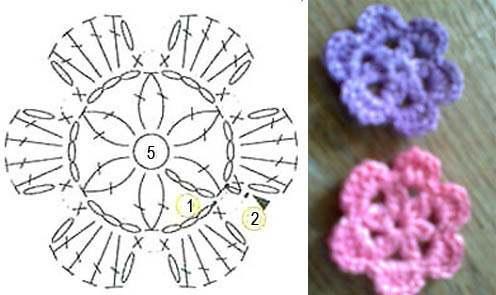 Схем цветочков крючком