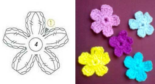 Маленький цветок крючком