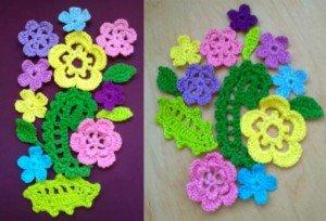 Связанные крючком мелкие цветочки