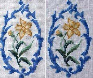 Сравнение вышивки на двух видах ткани
