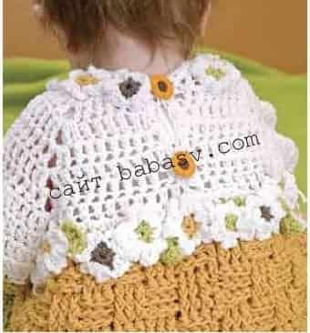 Связанные ромашки на платье