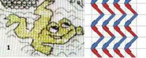 Вышитая лягушка швом Blackwork