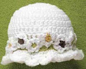 Как связать для маленькой девочки шляпку с ромашками