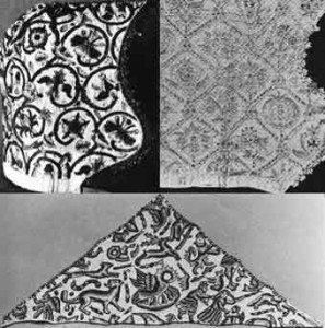Вышивка черными нитками на белом полотне