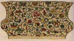 Вышитая старинная ткань для головного убора