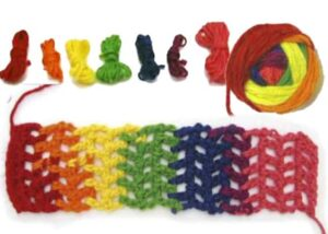 Вязание из цветных мотков пряжи