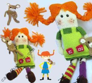 Пеппи и обезьянка парочка кукол