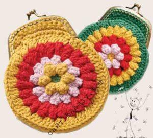 Цветочное украшение кошелек крючком