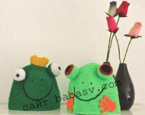 Как связать шапочки с глазами лягушек