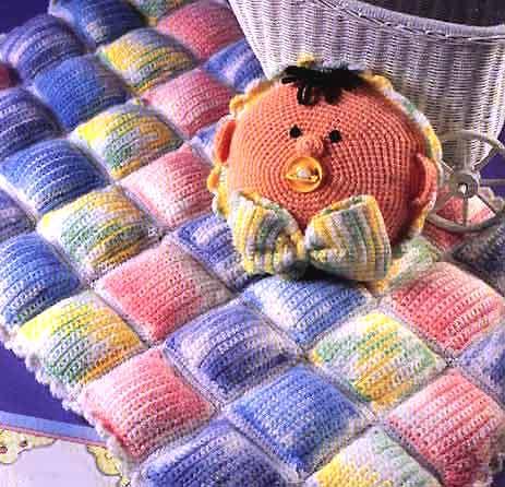 Подушка игрушка и плед крючком