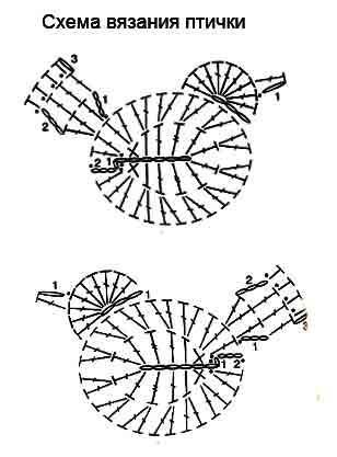 Как связать крючком птичку по схеме