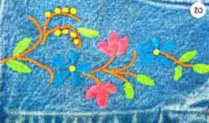 Голубой сарафан с цветочной вышивкой