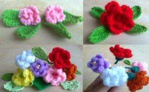Розы маленькие, связанные крючком
