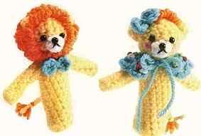 Как связать крючком пальчиковую игрушку льва