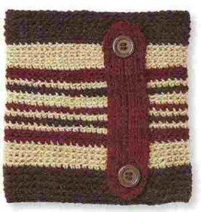 Связанный крючком мужской шапф, вид спереди