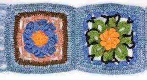 Связанные крючком цветочные мотивы для шарфа