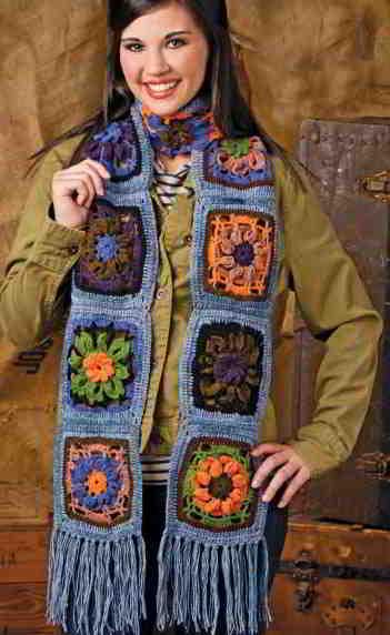 Как связать шарф из цветочных мотивов