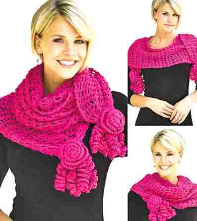 Как связать шарф и капюшон
