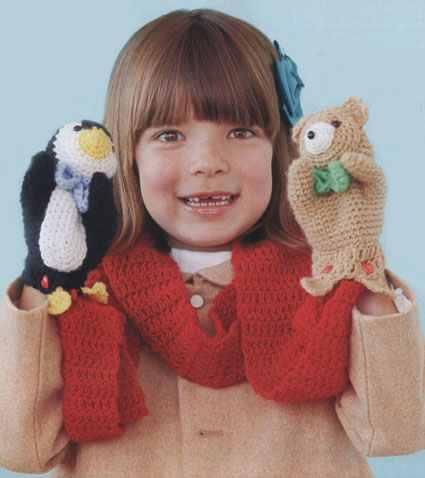 Как связать крючом шарф с игрушками