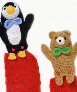 Мишка и пингвин для детского шарфа