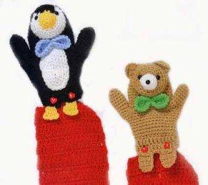 Связанные крючком мишка и пингвин