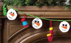 Как связать гирлянду из снеговика
