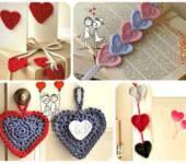Связанное сердечко крючком как декоративное украшение