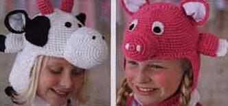 Забавные шапочки, вид спереди