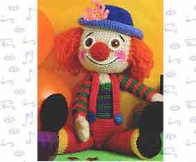 Разноцветный клоун Пируэт связанный крючком