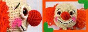 Большой красный нос клоуна, связанный крючком