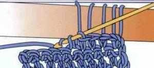 Второй этап вязания длинных петель