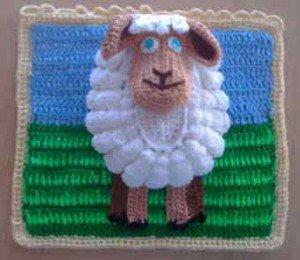 Пришить овцу на основание лужайки