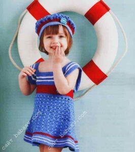 Платье и шляпка для девочки связаны крючком