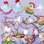 Птицы пасхальные связаны крючком