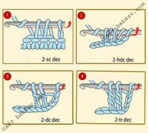 как убавить петли крючком