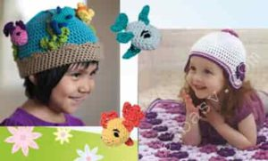 Детская шапочка с рыбками и цветами, связанная крючком связанную шапку крючком