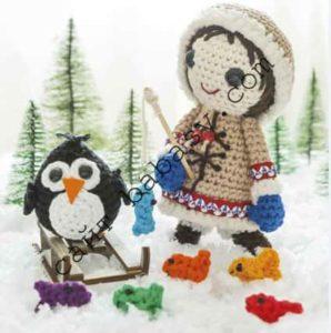 Как связать крючком пингвина и девочку