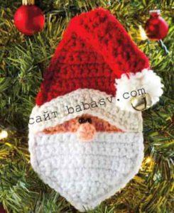 Как связать деда Мороза в виде подарочного чехла