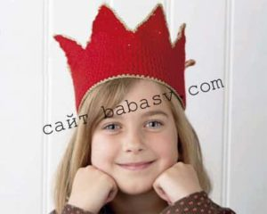 Связанная крючком корона с зубцами