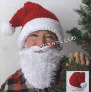 Как связать колпак, усы и бороду для Деда Мороза